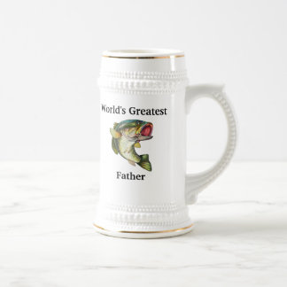 World's Greatest Father Bass Beer Stein 18 Oz Beer Stein