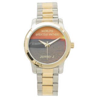 World's Greatest Father Wrist Watch, Fishing Boat Wristwatch