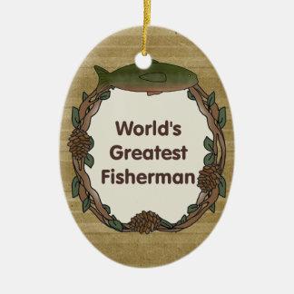 Worlds Greatest Fisherman Funny Fishing Ceramic Ornament