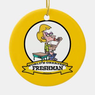 WORLDS GREATEST FRESHMAN GIRL CARTOON CERAMIC ORNAMENT
