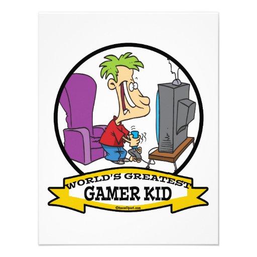 WORLDS GREATEST GAMER KID CARTOON PERSONALIZED INVITE