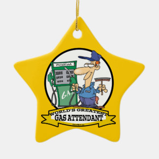 WORLDS GREATEST GAS ATTENDANT II CARTOON CERAMIC ORNAMENT