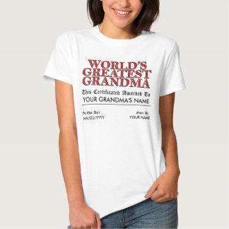 World's Greatest Grandma Certificate Tees