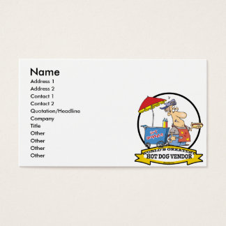 WORLDS GREATEST HOT DOG VENDOR MEN CARTOON BUSINESS CARD