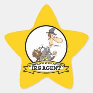 WORLDS GREATEST IRS AGENT CARTOON STAR STICKER
