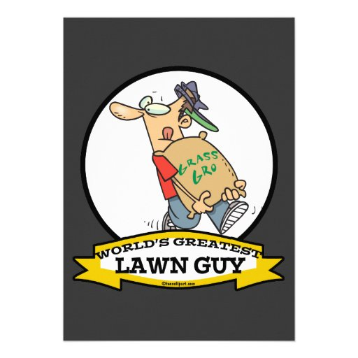WORLDS GREATEST LAWN GUY MEN CARTOON PERSONALIZED ANNOUNCEMENT