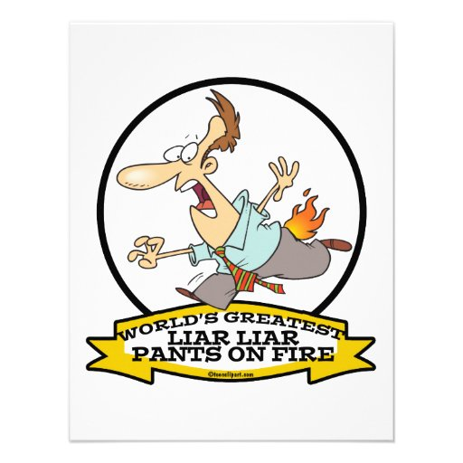 WORLDS GREATEST LIAR PANTS ON FIRE CARTOON PERSONALIZED INVITATIONS