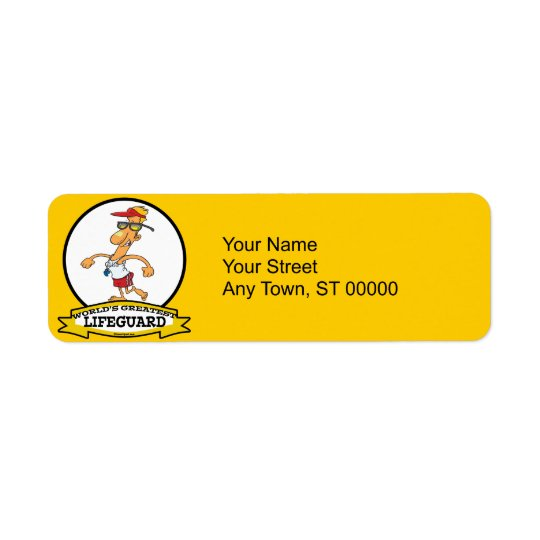 WORLDS GREATEST LIFEGUARD MEN CARTOON RETURN ADDRESS LABEL