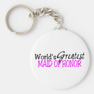 Worlds Greatest Maid Of Honor Pink Black Basic Round Button Keychain