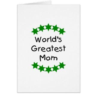 World's Greatest Mom (green stars) Greeting Cards