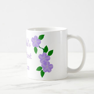 Worlds Greatest Mom Purple Flowers Coffee Mug