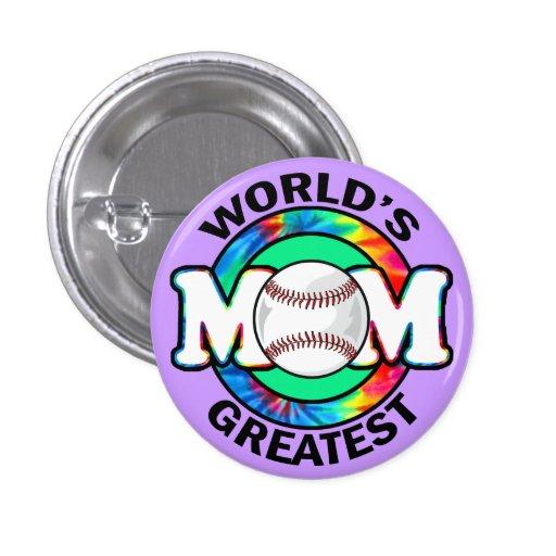World's Greatest Mom; Softball Pinback Button