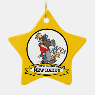 WORLDS GREATEST NEW DADDY MEN CARTOON CERAMIC ORNAMENT