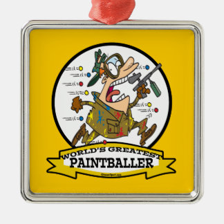 WORLDS GREATEST PAINTBALLER MEN CARTOON Silver-Colored SQUARE ORNAMENT