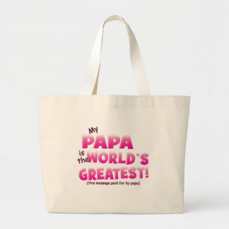 Worlds Greatest Papa pink Tote Bags