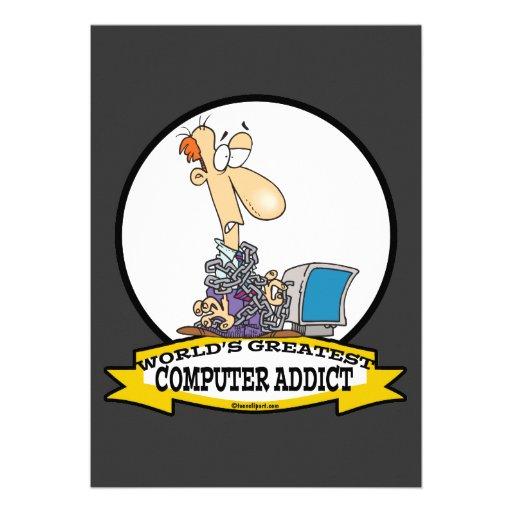 WORLDS GREATEST PC COMPUTER ADDICT CARTOON CUSTOM INVITE