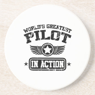 World's Greatest Pilot In Action Beverage Coasters