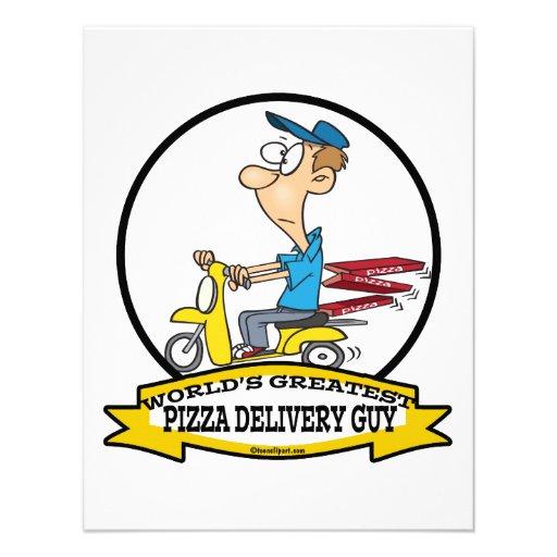 WORLDS GREATEST PIZZA DELIVERY GUY CARTOON CUSTOM INVITATIONS
