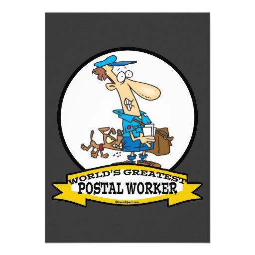 WORLDS GREATEST POSTAL WORKER MEN CARTOON CUSTOM INVITES