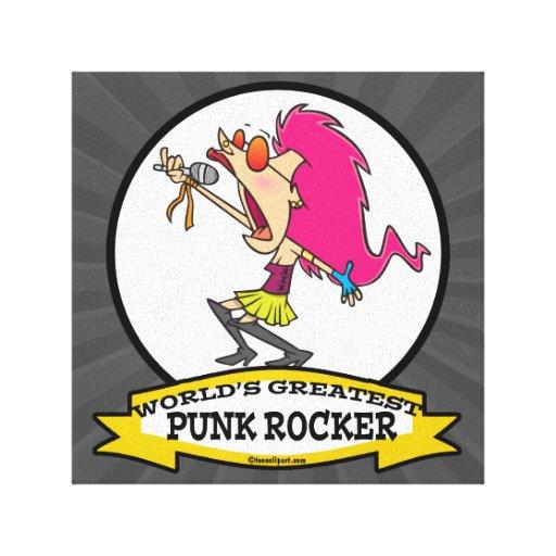 WORLDS GREATEST PUNK ROCKER GIRL CARTOON CANVAS PRINT