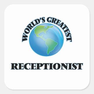 World's Greatest Receptionist Square Sticker