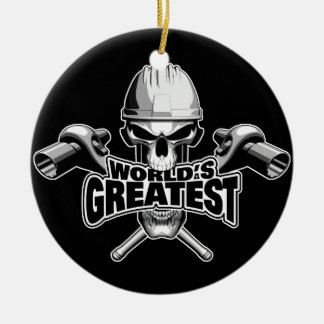 World's Greatest Scaffolder Round Ceramic Ornament