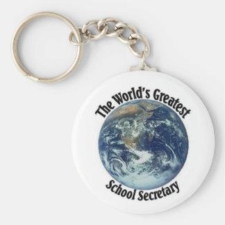 World's Greatest School Secretary Basic Round Button Keychain