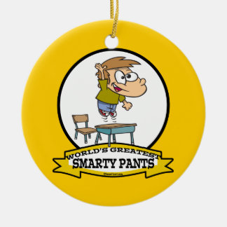 WORLDS GREATEST SMARTY PANTS BOY CARTOON ROUND CERAMIC ORNAMENT
