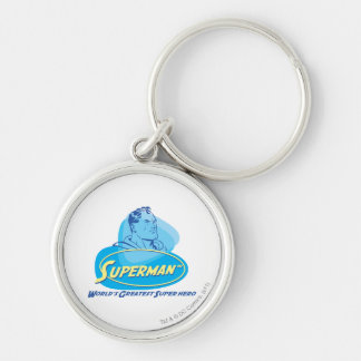 World's Greatest Super Hero Silver-Colored Round Keychain