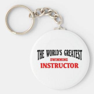 World's Greatest Swimming Instructor Basic Round Button Keychain