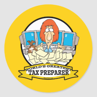 WORLDS GREATEST TAX PREPARER CARTOON CLASSIC ROUND STICKER