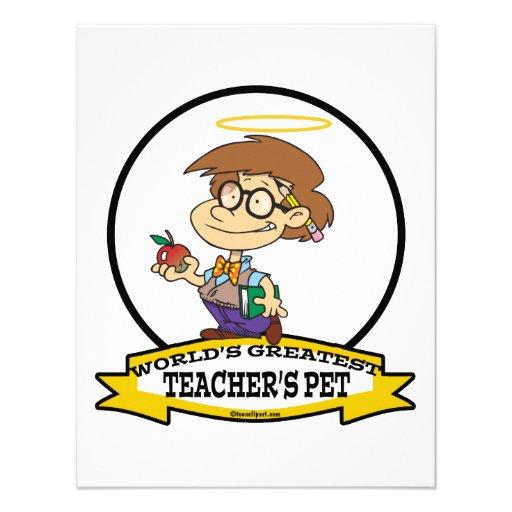 WORLDS GREATEST TEACHERS PET BOY II CARTOON CUSTOM INVITE