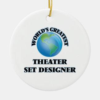 World's Greatest Theater Set Designer Round Ceramic Ornament
