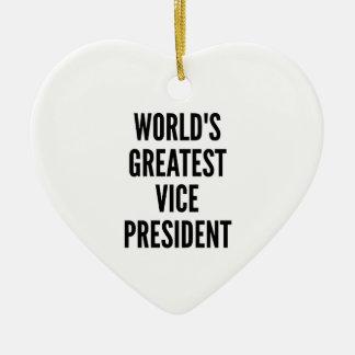 Worlds Greatest Vice President Ceramic Heart Ornament