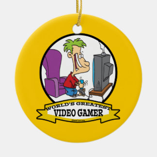WORLDS GREATEST VIDEO GAMER KIDS CARTOON ROUND CERAMIC ORNAMENT