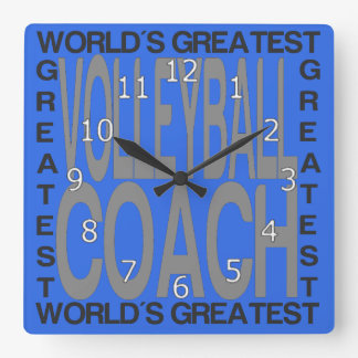 Worlds Greatest Volleyball Coach Square Wall Clock