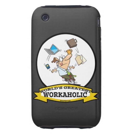 WORLDS GREATEST WORKAHOLIC MEN CARTOON TOUGH iPhone 3 CASE