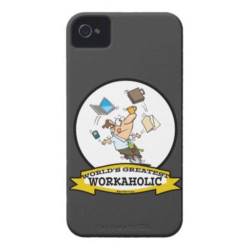 WORLDS GREATEST WORKAHOLIC MEN CARTOON Case-Mate iPhone 4 CASE