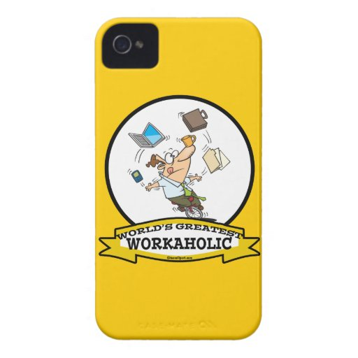 WORLDS GREATEST WORKAHOLIC MEN CARTOON iPhone 4 COVERS