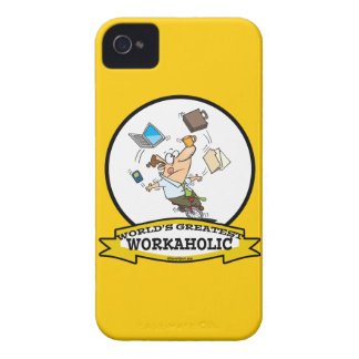 WORLDS GREATEST WORKAHOLIC MEN CARTOON Case-Mate iPhone 4 CASES