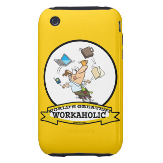 WORLDS GREATEST WORKAHOLIC MEN CARTOON iPhone 3 TOUGH COVERS
