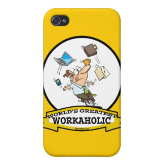 WORLDS GREATEST WORKAHOLIC MEN CARTOON iPhone 4/4S COVER