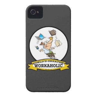 WORLDS GREATEST WORKAHOLIC MEN CARTOON iPhone 4 CASE