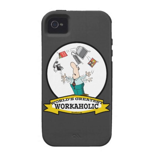 WORLDS GREATEST WORKAHOLIC MEN II CARTOON Case-Mate iPhone 4 COVER