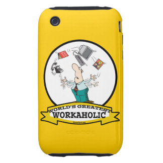 WORLDS GREATEST WORKAHOLIC MEN II CARTOON TOUGH iPhone 3 CASE