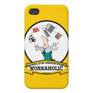 WORLDS GREATEST WORKAHOLIC MEN II CARTOON iPhone 4 CASES