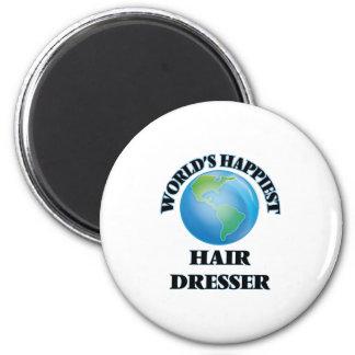 World's Happiest Hair Dresser 2 Inch Round Magnet