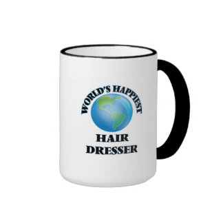 World's Happiest Hair Dresser Ringer Coffee Mug