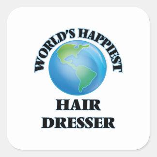 World's Happiest Hair Dresser Square Sticker