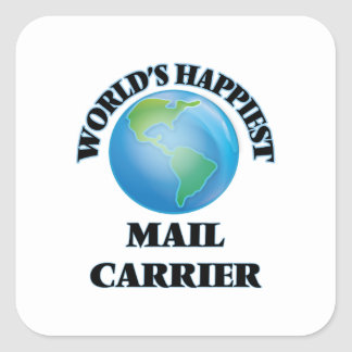 World's Happiest Mail Carrier Square Sticker